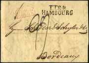 "1929 Stempel ""T.T.R. 4 HAMBOURG"" Thurn und Taxis, 4. Rayon, über Givet nach Bordeaux in Frankreich, 9 ß"
