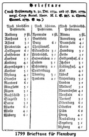 Taxtabelle Schleswig